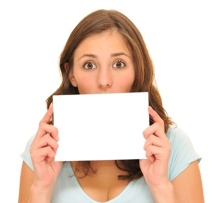 Beautiful woman holding a blank card isolated Stock Photo - 8101801