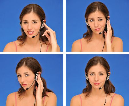 beautiful woman and headset isolated over blue