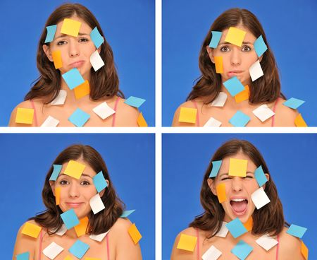 beautiful woman ans sticky notes isolated over blue Stock Photo - 8101807
