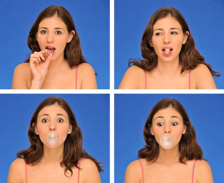 bubblegum: beautiful woman chewing bubble gum isolated over blue Stock Photo