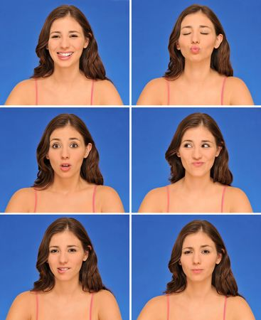 Beautiful woman expressions isolated over blue background