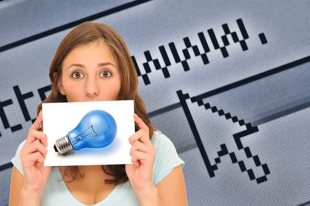 beautiful woman having a great internet idea Stock Photo - 8101823