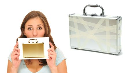 Beautiful woman with golden briefcase next to an old one Stock Photo - 8101814