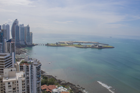 Panama city in front of the ocean pacific and artificial islands