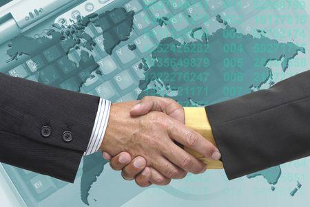 pacto: Empresario hacer un pacto con un fondo azulado Foto de archivo