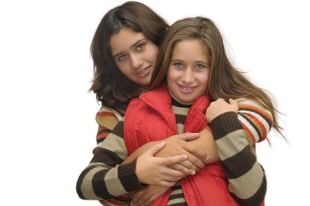 Beautiful young girls posing against a white background Stock Photo - 4033149