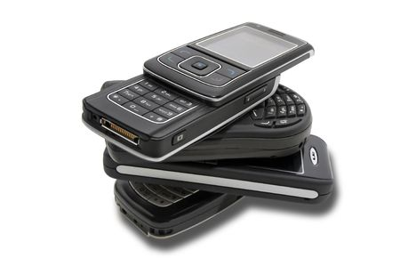 several cellphones isolated in white Stock Photo - 4033185