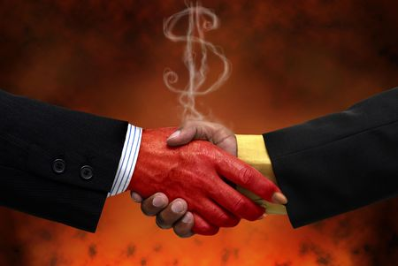 satan: Businessman making a pact with the devil Stock Photo