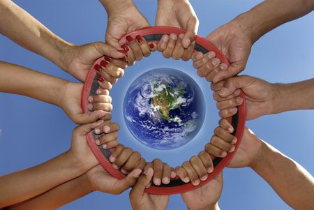 Several hands holding together Stock Photo - 4105994