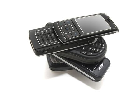 several cellphones isolated in white Stock Photo - 4113127