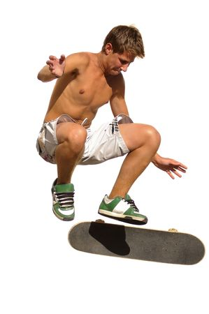 prix: Boy jumping with a skateboard isolated against a white background