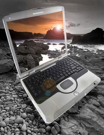 Laptop in the Sunset  photo