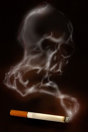 Cigarette with deadly smoke, scull shaped photo