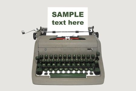 secretarial: Very old typewriter isolated in white