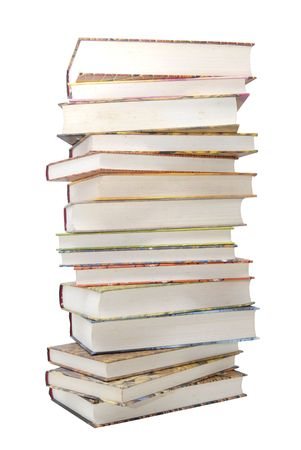 bibliomania: Stack of books isolated in white