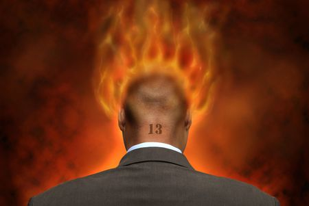 devilish: Devilish businessman in hell