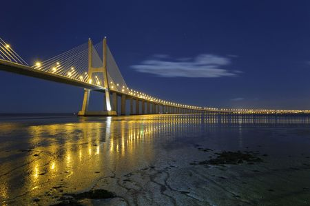 Vasco da Gama bridge in Lisbon Portugal Banco de Imagens