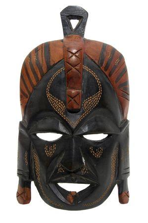 maschera tribale: Tribal maschera isolata in bianco Archivio Fotografico