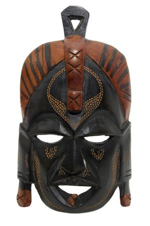 african mask: Tribal mask isolated in white