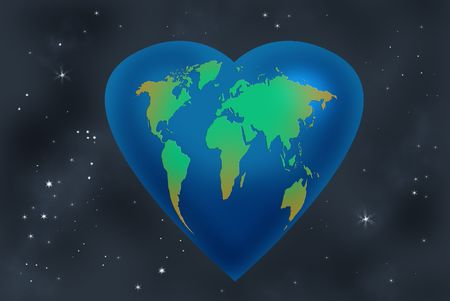 world map heart shaped Stock Photo - 4415459