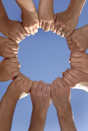 Several hands holding together Stock Photo - 4437317
