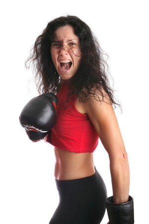 Young girl with boxing glove isolated in white Stock Photo - 4460799