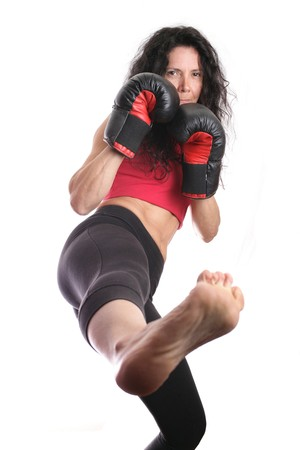 Young girl with boxing glove isolated in white Stock Photo - 4460732