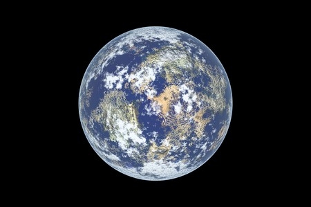 planet Earth isolated in black photo