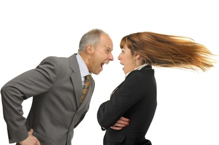 Businessman screaming with employee photo