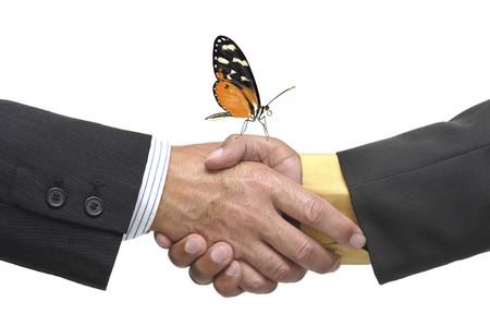 pacto: Empresario haciendo un Pacto aislado en un fondo blanco  Foto de archivo