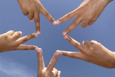ensemble mains: Mains formant une �toile Banque d'images