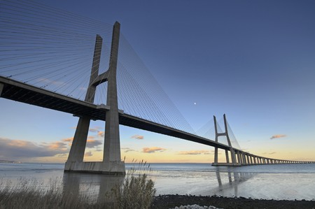 Vasco da Gama bridge in Lisbon Portugal