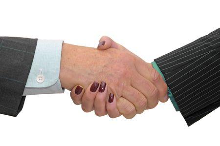 pacto: Hombre de negocios toma un pacto aislado en un fondo blanco