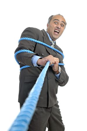 Businessman with rope isolated in white photo