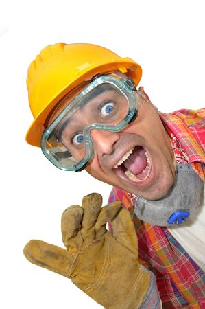 carpenter's sawdust: worker with glasses and mask isolated in white