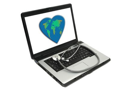 Laptop with stethoscope and a heart shaped earth on screen photo
