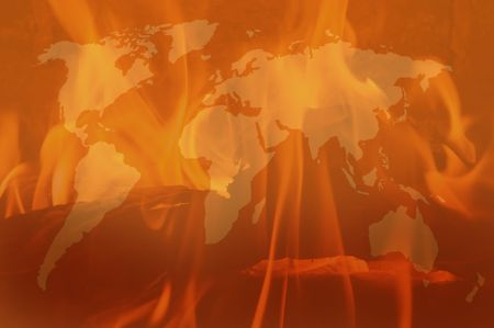 Background with map and flames Stock Photo - 4760459