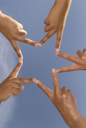 unbreakable: Hands together forming a star