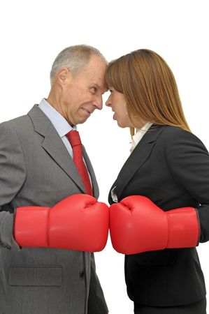 Business woman and businessman fighting isolated in white photo
