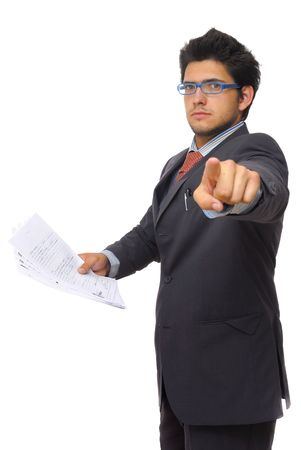 Bussinessman with documents in his hand, pointing at us. Stock Photo