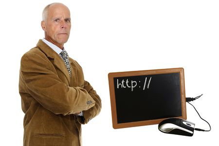 oldschool: Oldschool, mature man with a special laptop Stock Photo