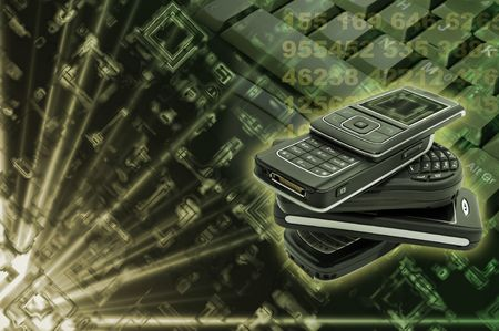 Several cellphones with hightech background Stock Photo - 4908633