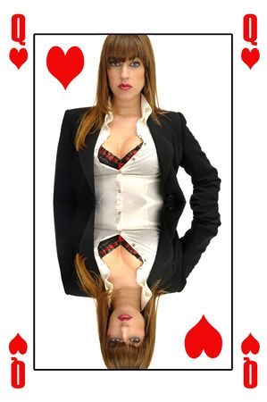 Queen of Hearts card with businesswoman