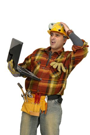 Worker with laptop isolated in white photo