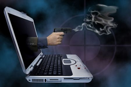 futuristic pistol: Illustration of a smoking gun coming out of a laptop