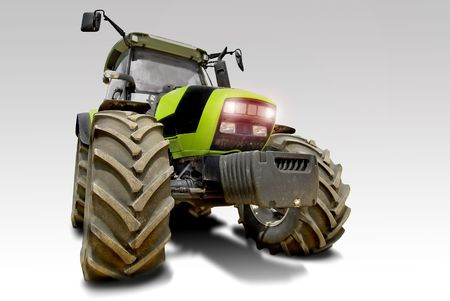 Green tractor isolated in white Stock Photo - 4946386