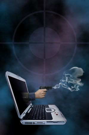 murder: Illustration of a smoking gun coming out of a laptop