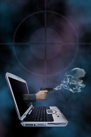uccidere: Illustrazione di una pistola di fumo che esce di un computer portatile