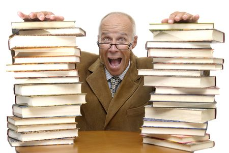 Mature man with books isolated in white photo