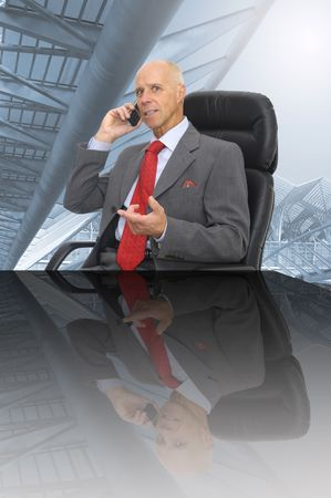 Mature executive calling by phone in the office Stock Photo - 5017491